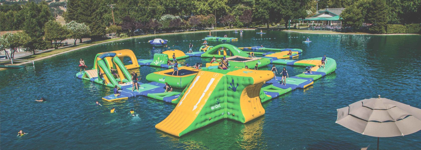 An inflatable obstacle course.