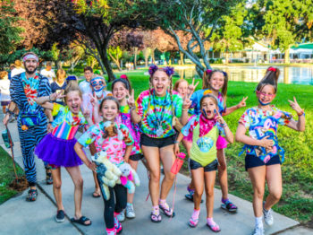 Campers having fun dressing up in silly clothes