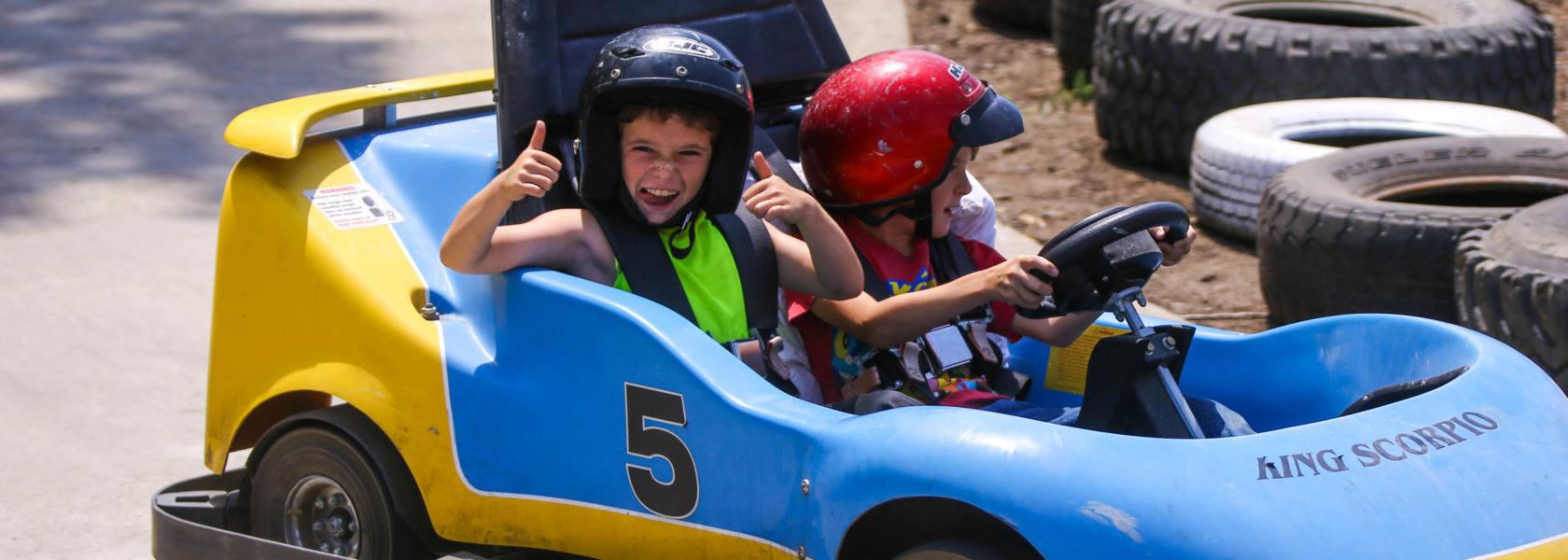 Campers having fun go-karting