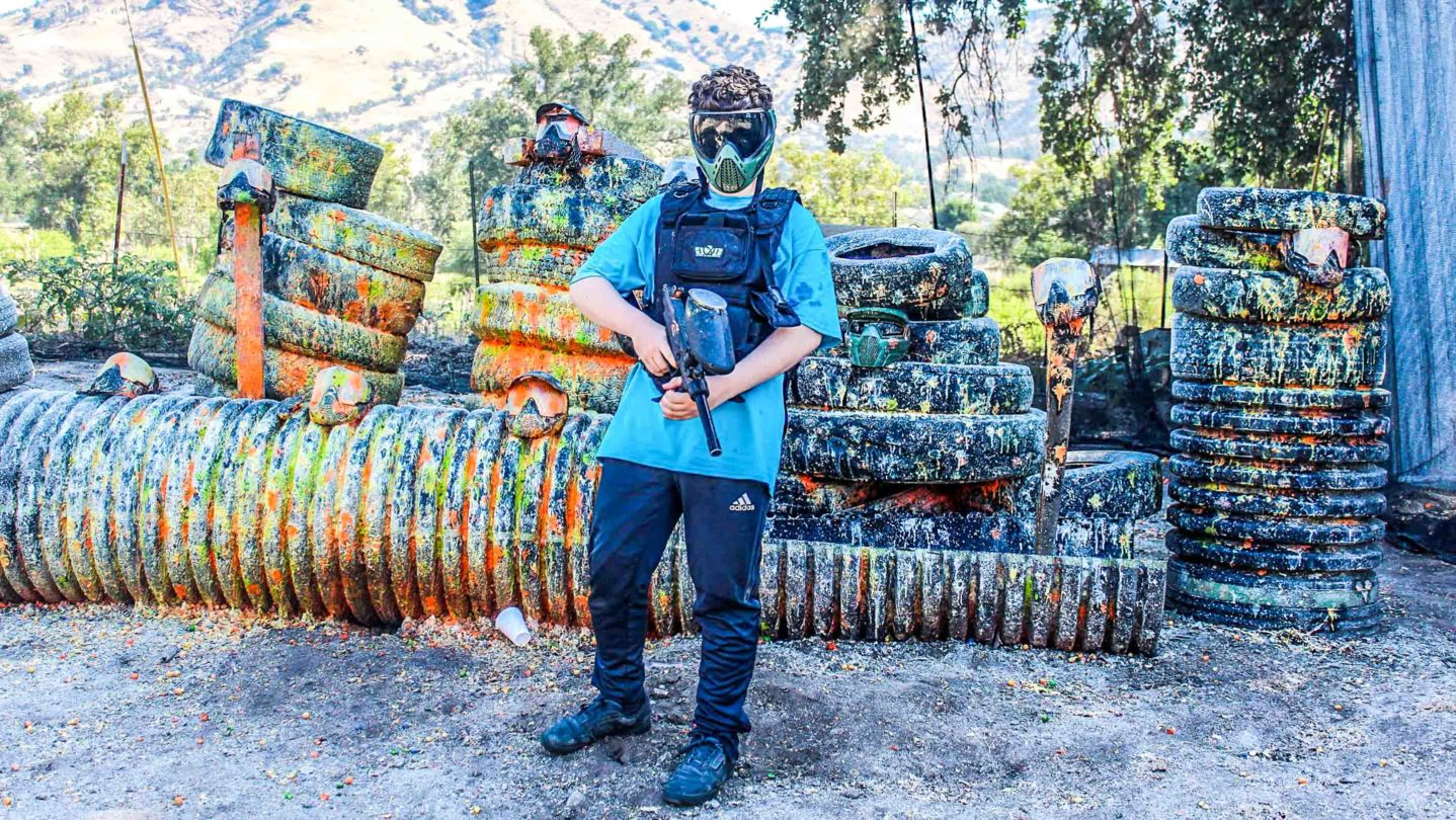 A camper playing paintball