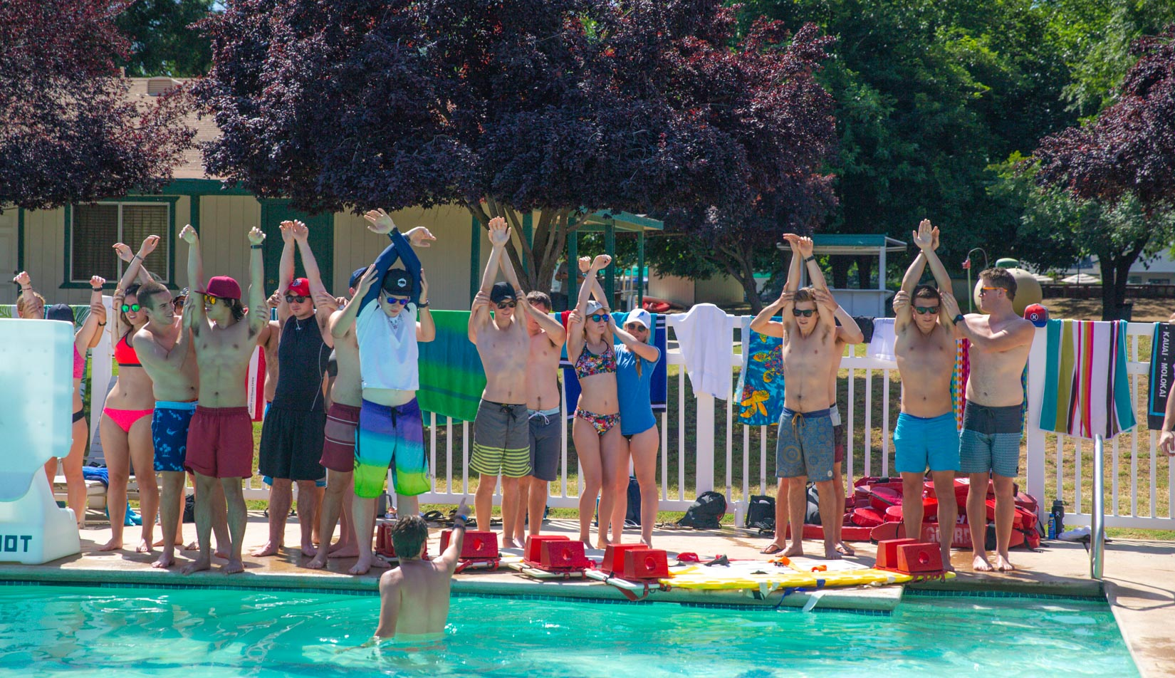 Lifeguard training in a pool for the staff